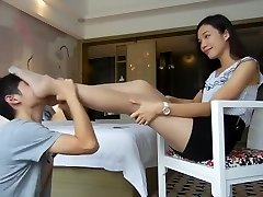 Chinese female domination's footslave