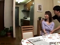 Japanese mom get fucked after hubby leaves for work