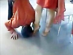 Paki Begum Domina in Red Shalwar Kameez Foot Adored by Muslim Slave