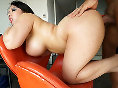 Booty Asian bi-atch wit enormous fake boobs got fucked from behind hard