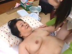 Mature Asian Woman Licking And Fingering Young Girl Hairy Pussy On The Matt