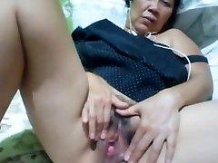 Filipino granny 58 plumbing me foolish on cam. (Manila)1