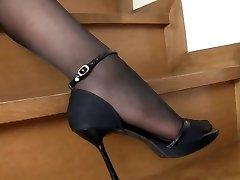 Asian Woman Black Pantyhose