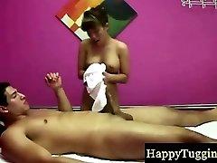 Asian masseur makes him blow his fountain