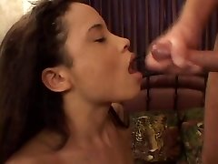 Petite asian in red lingerie gives a wet and wild blowjob