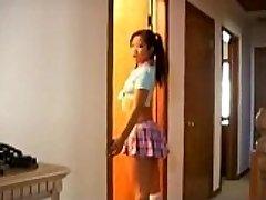 Naughty asian schoolgirl cock fellating lessons