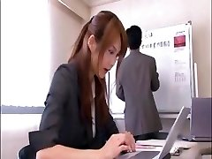 Naughty Asian office worker gets humped by the manager in the conference room