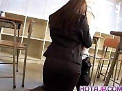Mei Sawai Asian busty in office suit gives super-steamy fellatio at school