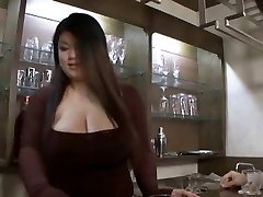 Chinese bbw hj then strap on dildo