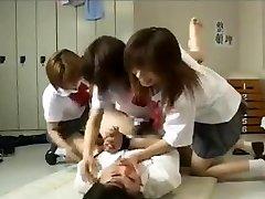 Belt Dick gangbang by 3 japanese college girls