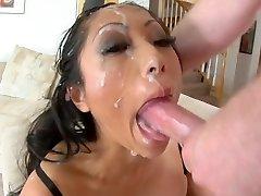 Asian slut deep-throat to facial cumshot