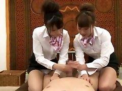 Naughty Japanese chick Hinata Tachibana, Hiyori Wakaba, Eri Ouka in Mischievous Handjobs, Threesomes JAV movie