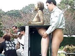 Costume Play Porn: Public Painted Statue Fuck part Four
