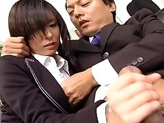 Assistant super-bitch Satomi Maeno blows cock uncensored