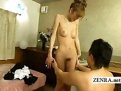 Japanese newhalf transgirl is stripped nude with blowjob