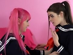 T-girl Schoolgirl Learns to PENETRATE!