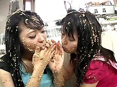 Subtitled extreme Asian natto sploshing lezzies