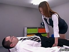 This Asian office slut is a control freak and she loves to 69