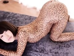 Flexible asian costume play babe in leopard bodysuit creampied