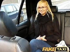 FakeTaxi Blonde with glasses gets talked into hookup video