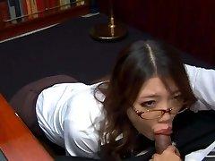 Kinky Asian secretary in glasses Ibuki sucks the dick of her pampered chief