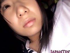 Innocent japanese schoolgirl guzzles cum