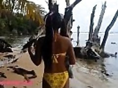 HD Ameteur Tiny Thai Teen Heather Deep day at the beach gives blow Throatpie Swallow