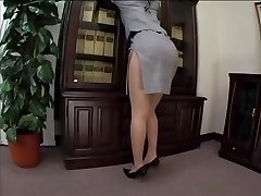 asian secretary stockings