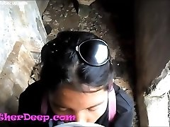 Heather Deep probes trail in jungle and get creamthroat in deserted wc