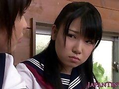 Lil' CFNM Japanese schoolgirl love sharing dinky