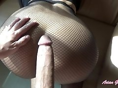 Tear my fishnets and cream pie my lil' Asian pussy