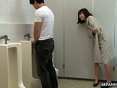 Crazy Asian chick Uta Kohaku pees on dick of one stranger dude in a public wc