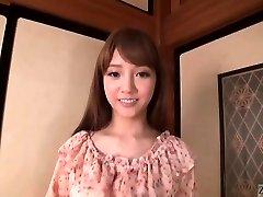 Subtitled Asian AV star Rei Mizuna striptease to bareness