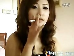 cute chinese lady smoking