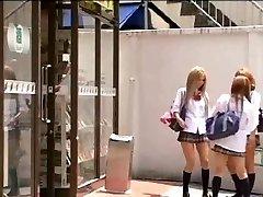 Asian Tgirl in uniform penetrates her classmate