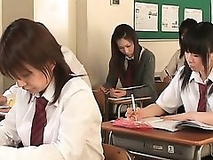 Asian school babe in cords flashes cootchie upskirt in class