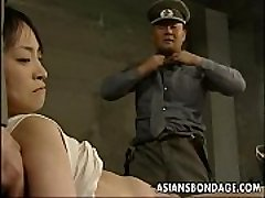 Japanese girl restricted down and stuffed with fat dicks