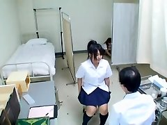Cute Jap teen has her medical check-up and gets unsheathed