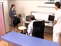 Medical scene of young na.ve Asian sweetie getting checked by two horny physicians