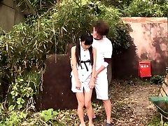 Tiny japanese thighfucked outdoors