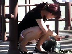 Asian teen slut urinating