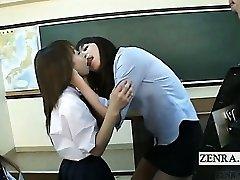 Subtitled Japanese schoolgirls teacher smooch interviews