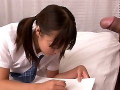 Lusty Asian college slut Momoka Rin gargles appetizing cock of her camera stud