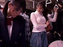 יפנית זונה מקבל דחוס צפוף אוטובוס ציבורי