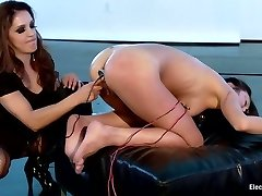 Uber-sexy MILF dominates Cute All Natural Asian LIVE on Electrosluts!