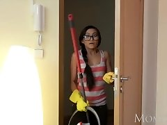 MOM Petite Thai maid shocks youthfull guy of house with a drill in his bedroom