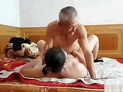 Handsome Chinese grandfather giving fucking