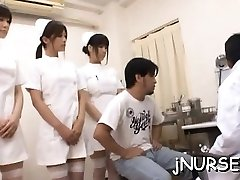 Stunning nurse rides patient's large knob intensively
