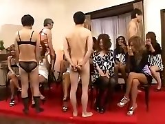 CFNM with outgoing Japanese girls who playfully examine boner