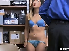 Chinese Aubree caught stealing then works on officers meaty cock